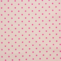 Ткань хлопковая яркие звезды  на розовом