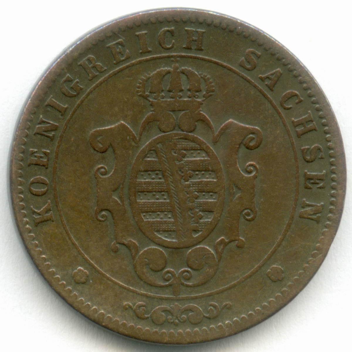 5 пфеннигов 1863 (B). Германия-Саксония. Медь VF