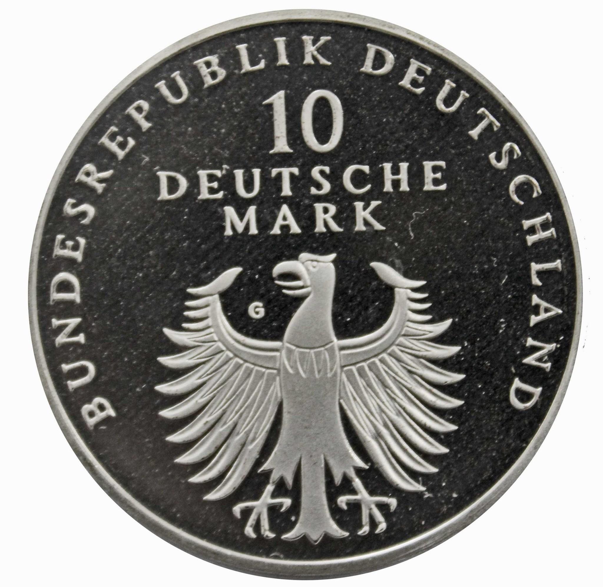 10 марок. 50 лет Немецкой марке (G). Серебро. 1998 г. PROOF. В родной запайке