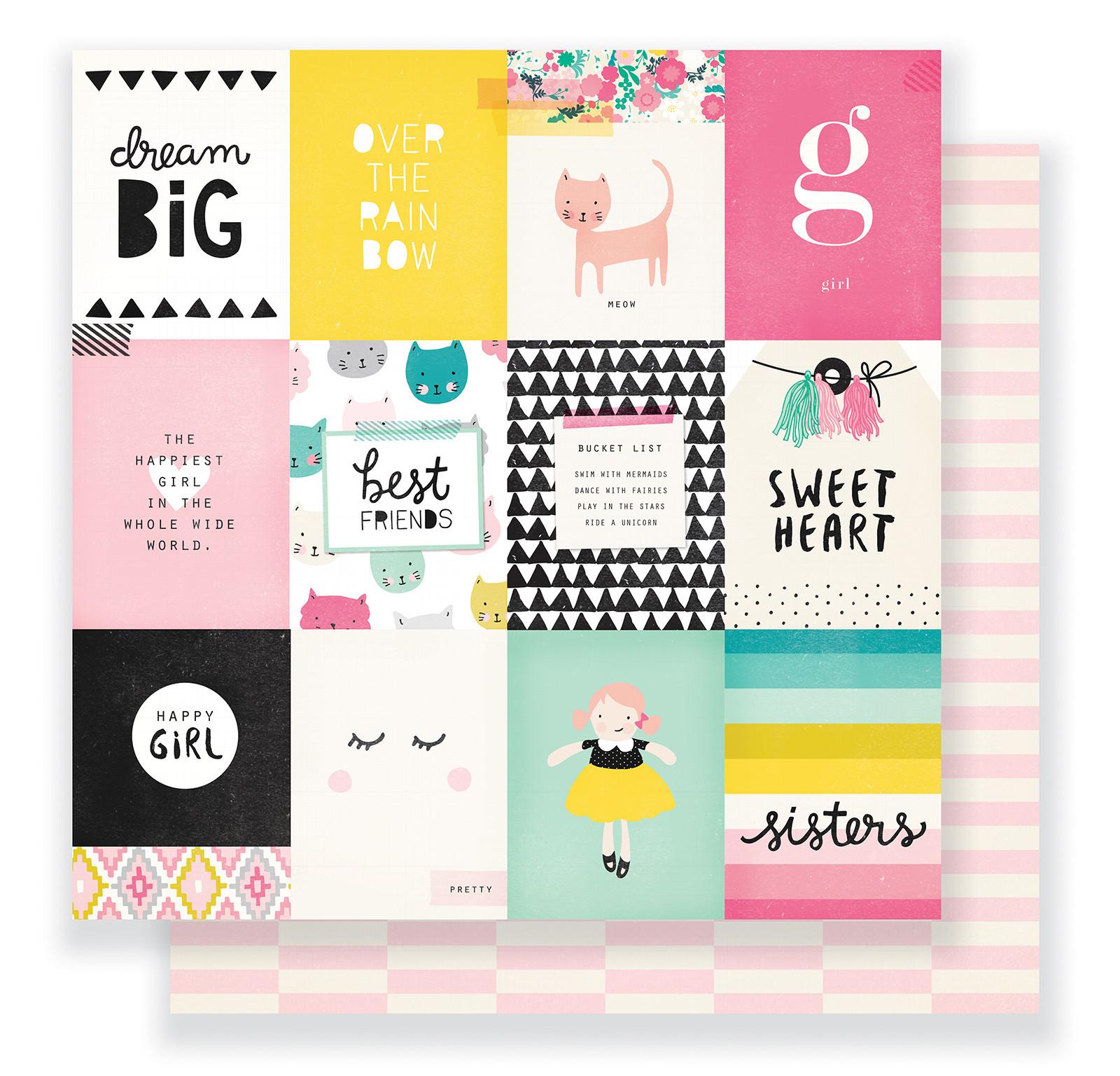 Двухсторонний лист с журнальными карточками 30*30см  Cute Girl by Crate Paper
