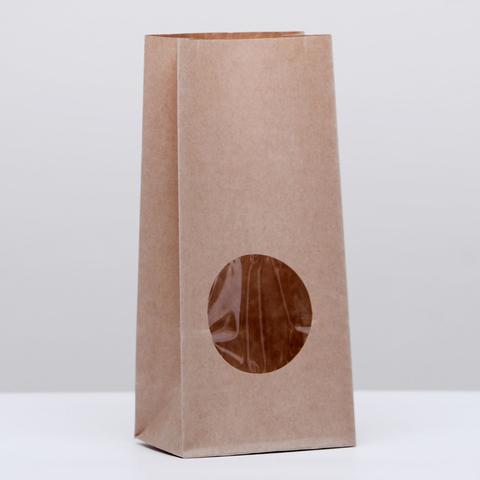 Пакет крафтовый с окном, 8,5*17см
