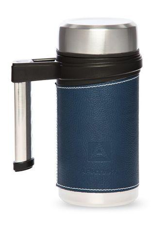 Термокружка Арктика (406-500 синий) 0,5 литра, синяя, кожаная вставка