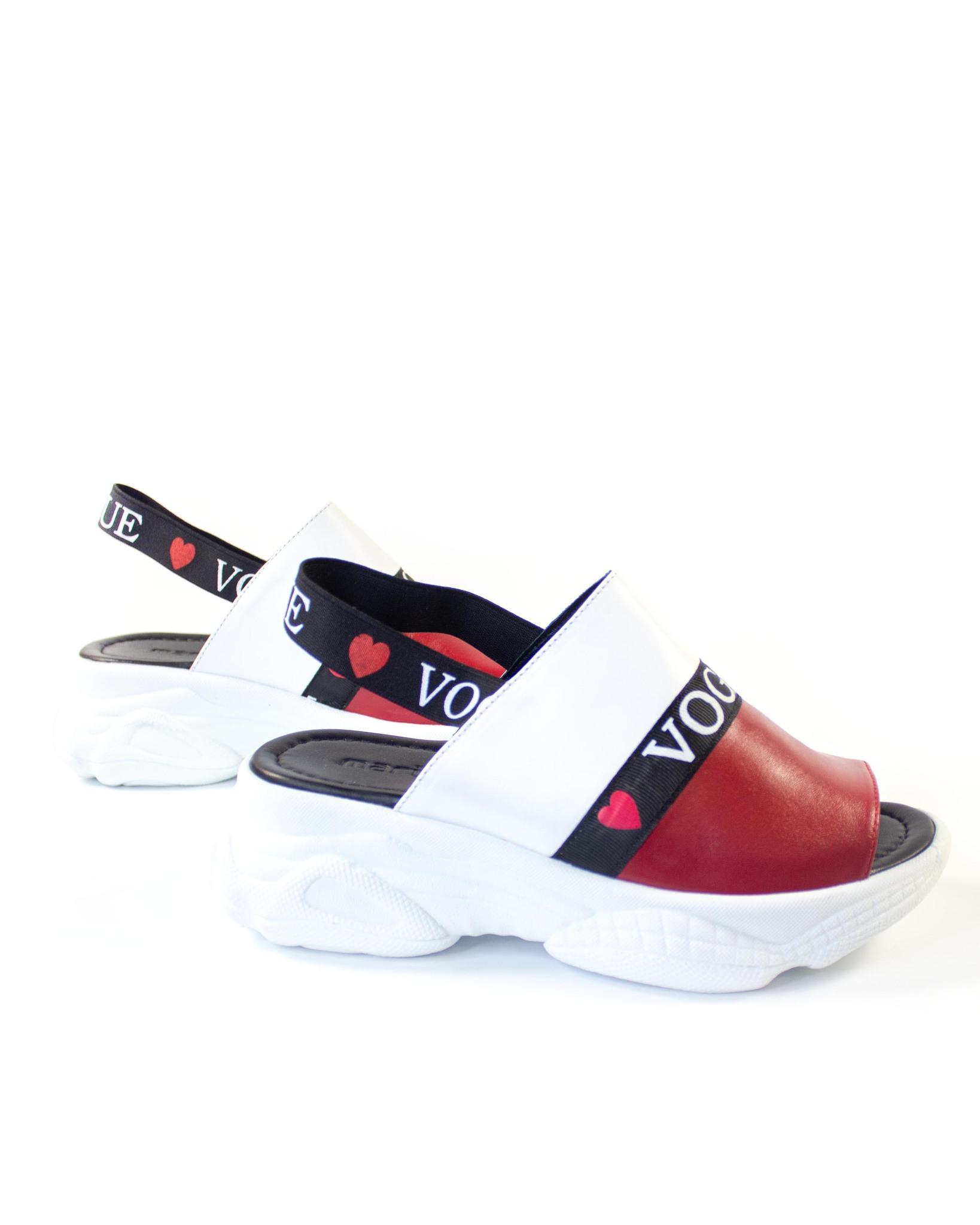 красно-белые босоножки Mario Muzi