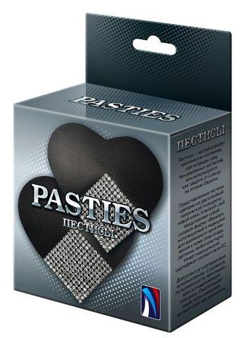 Черные пэстисы-сердечки с серебристыми стразами