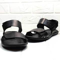 Кожаные сандали босоножки с открытым носом мужские Zlett 7083 Black.