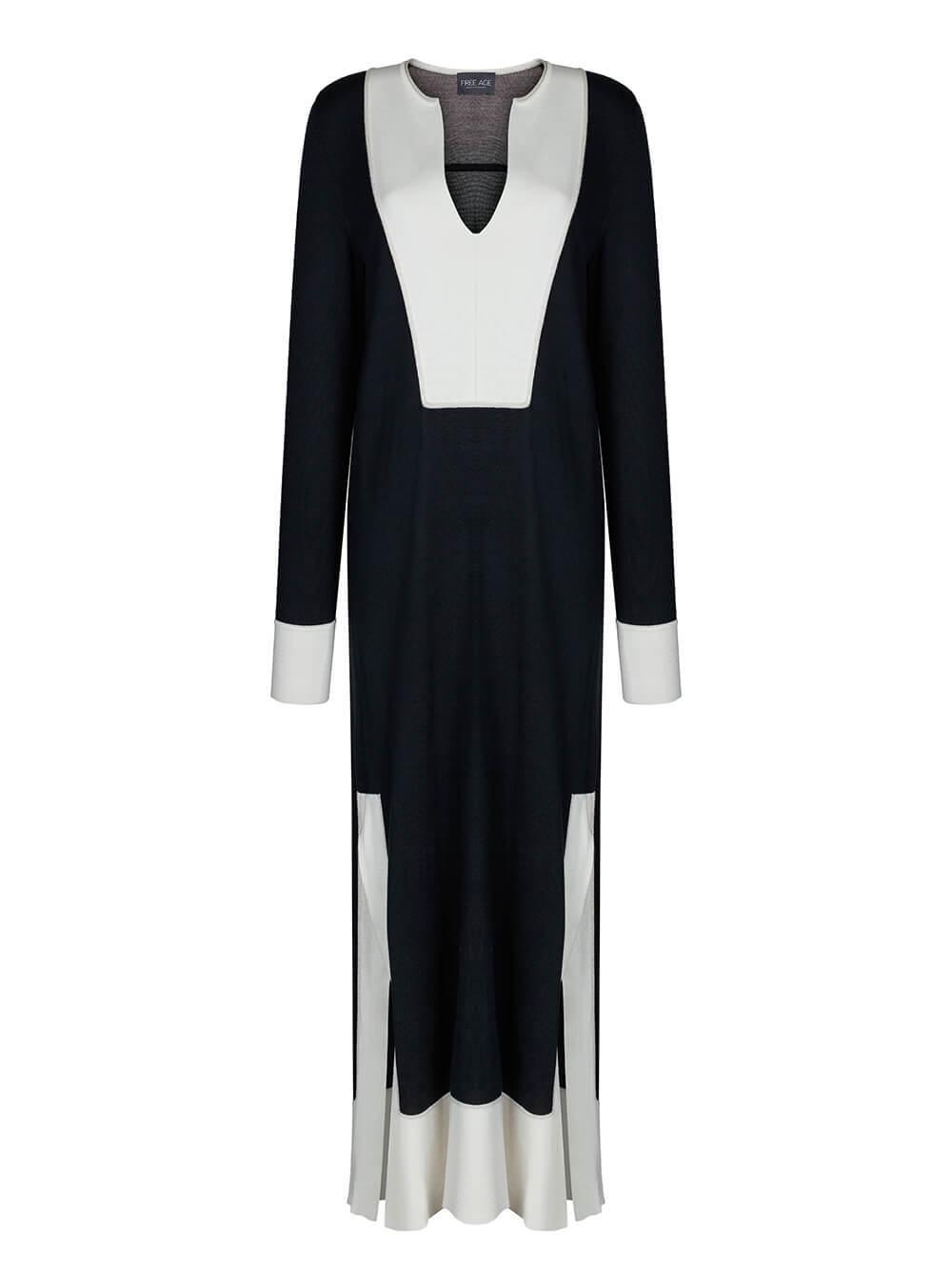 Женское платье черного цвета из шелка и кашемира - фото 1