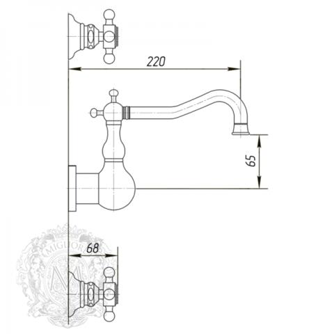 Смеситель для раковины настенный Migliore Arcadia ML.ARC-8370 схема