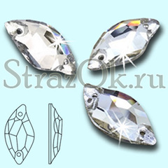 Стразы пришивные стеклянные Leaf Crystal, Листок цвет Кристал, прозрачный яркий на StrazOK.ru