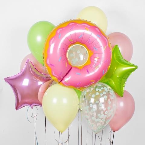 Сет шаров Нежно-розовый с пончиком