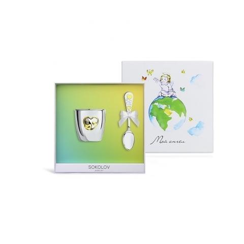24030 - Подарочный набор для малыша из серебра стакан + ложечка