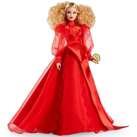 Барби Годовщина 75 лет Блондинка в Красном Шифоновом Платье