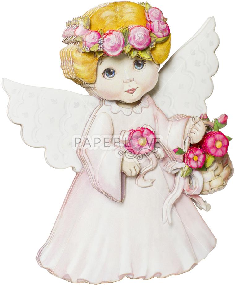 Папертоль Ангел в розовом — готовая работа, вид сбоку.