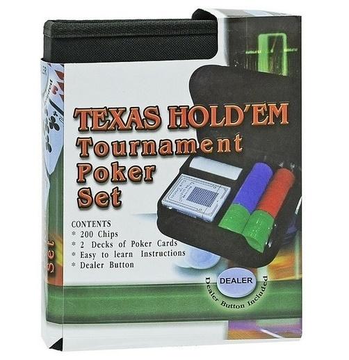 Покерный набор на 200 фишек в тканевом чехле