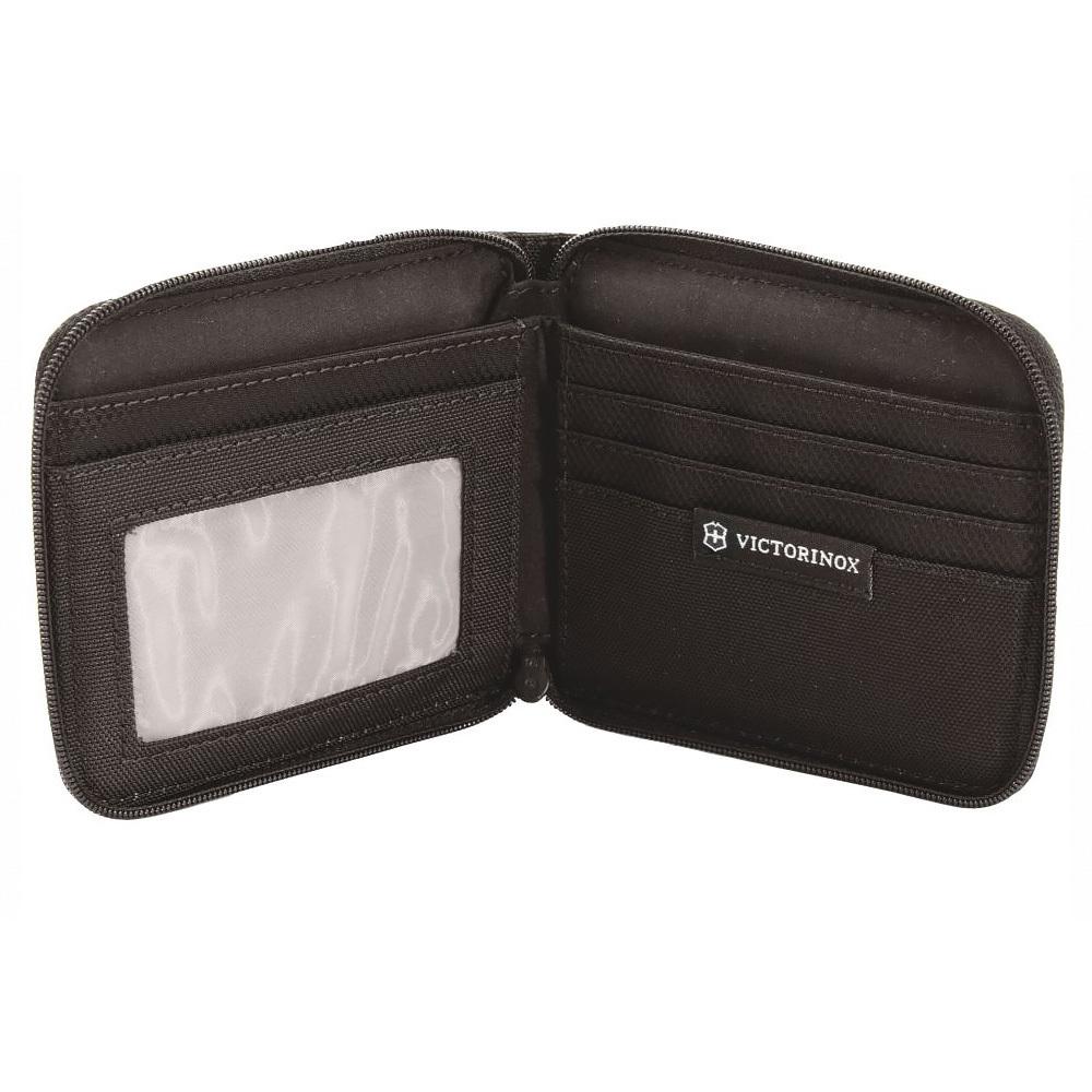 Бумажник Victorinox Tri-Fold Wallet на молнии, цвет чёрный, нейлон 800D, 11x10x1 см.(31172601)