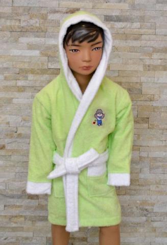 Детский махровый халат с капюшоном La Villa 12 зелёный