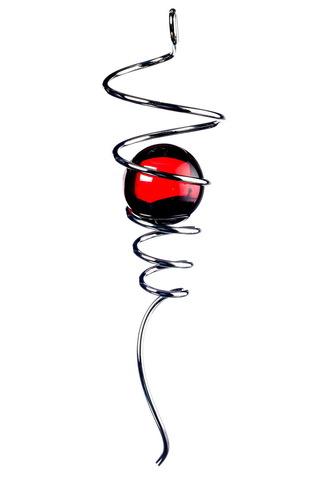 Спиральный хвостик серебристый с красным шаром (Iron Stop)