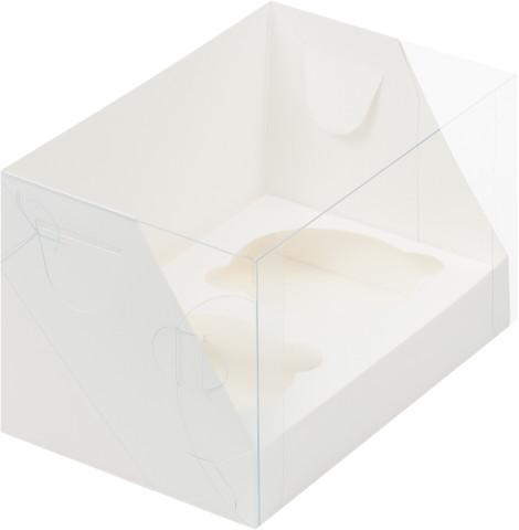 Коробка для 1 капкейка с прозрачной крышкой,10*10*10см (белая)