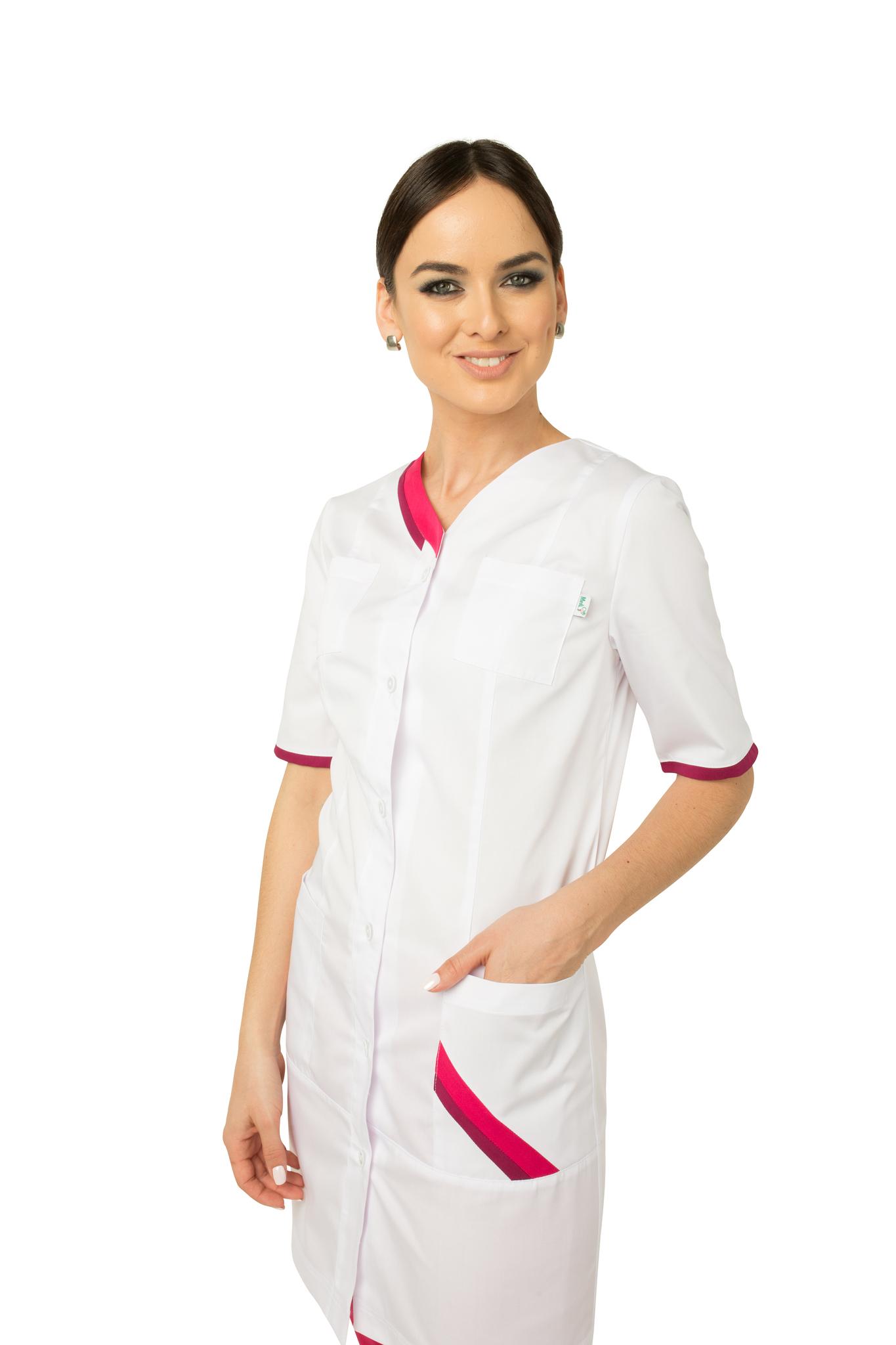 Яркая медицинская блуза-туника с четырьмя удобными карманами