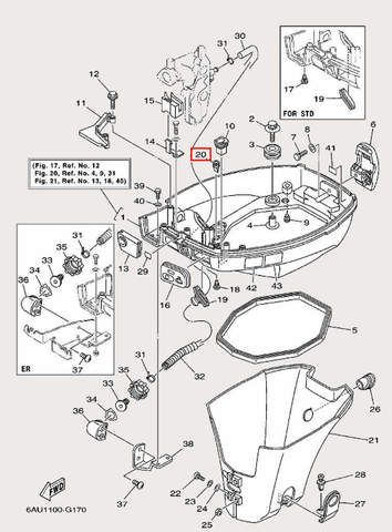 Уплотнитель резиновый для лодочного мотора F9,9 Sea-PRO (16-20)
