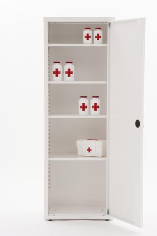 Шкаф медицинский металлический МЕТ ВАЛЕНТИЯ 1М, дверка металл - фото