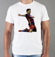 Футболка с принтом Луис Суарес (Luis Suárez) белая 002