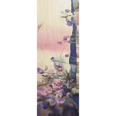 Шелковый палантин батик Парнасские розы С-51