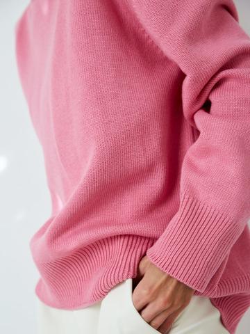 Джемпер из смесового кашемира с круглым вырезом розовый