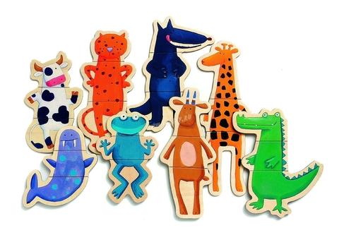 Магнитный деревянный пазл Забавные животные