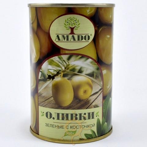 Оливки зеленые с косточкой в ж/б Amado, 300г