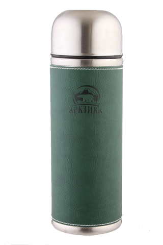 Термос Арктика (108-500 зелёный) 0,5 литра с узким горлом, зеленый, кожаная вставка