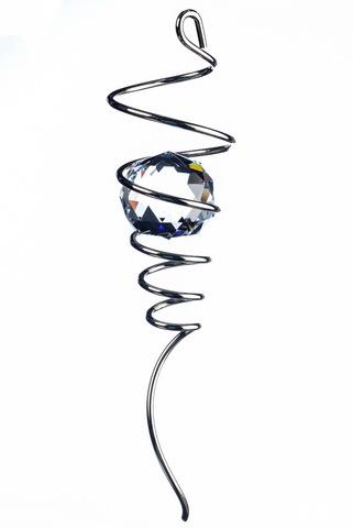 Спиральный хвостик серебристый с кристаллом (Iron Stop)