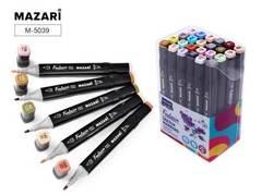 Уценка! Mazari Fantasia набор маркеров для скетчинга 24 шт двусторонние спиртовые пуля/долото 3.0-6.2 мм (серые + пастельные)