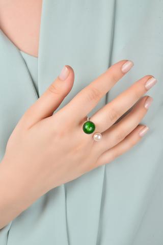Кольцо Carlotta зелёное