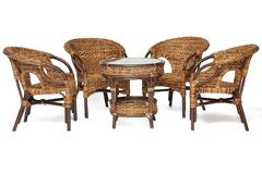 Комплект обеденный Мандалино (Mandalino) 05/21 ( 4 кресла + стол обеденный ) — walnut (грецкий орех)