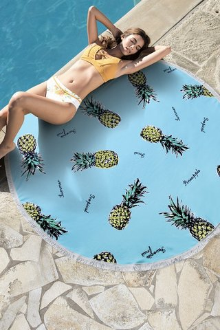 полотенце пляжное круглое голубое с ананасами