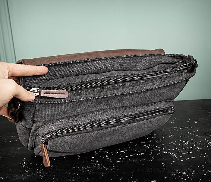 BAG504-1 Удобная городская сумка портфель из ткани серого цвета фото 10