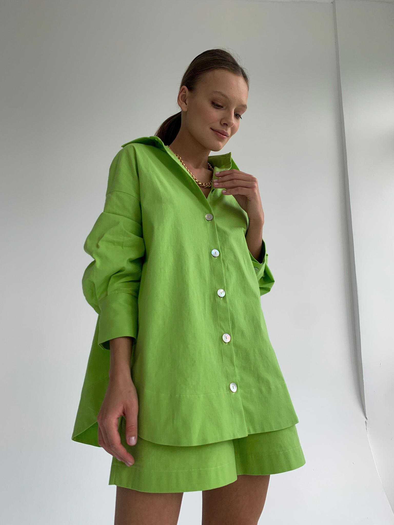 Рубашка объемная изо льна (лайм)