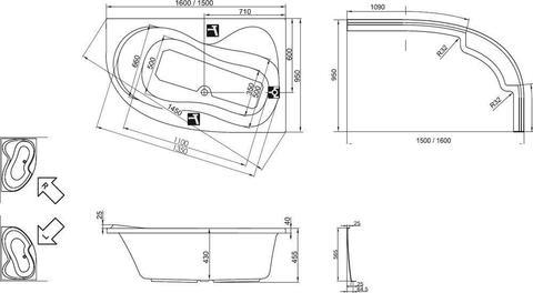 Ванна акриловая Ravak Rosa 95 160x95 L C571000000 левая схема