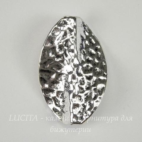 "Бусина металлическая ""Листик изогнутый"" 28х18 мм (цвет - античное серебро)"