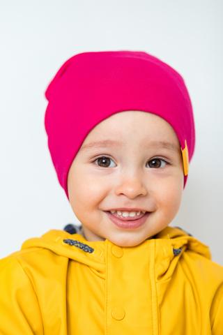 детская шапка хлопковая гладкая малиновая фуксия