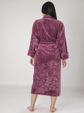 Халат женский махровый с капюшоном Artemida 8650 фиолетовый NUSA Турция