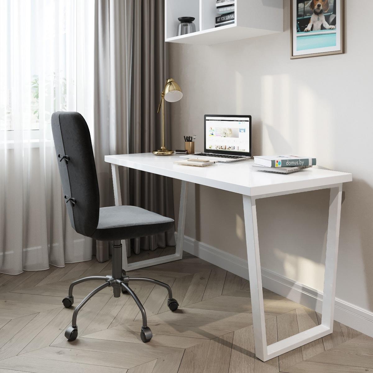 Письменный стол ДОМУС СП013 белый/металл белый