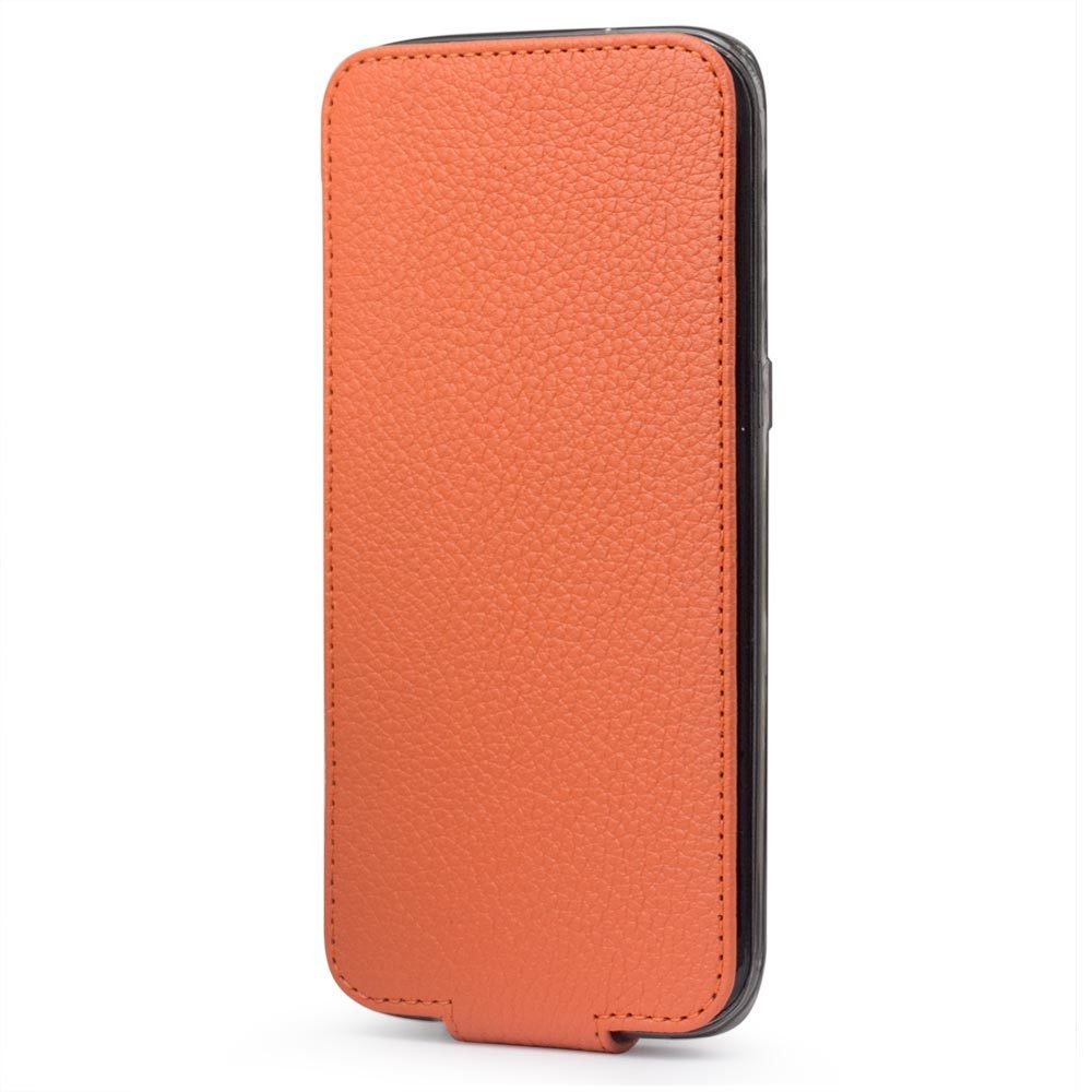 Чехол для Samsung Galaxy S7 edge из натуральной кожи теленка, оранжевого цвета