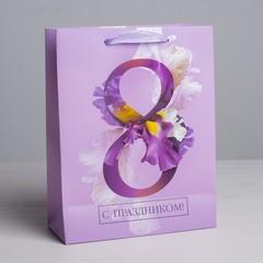 Пакет ламинированный вертикальный «С Праздником, 8 марта!», MS 18 × 23 × 8 см