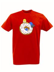 Футболка с принтом мультфильма Симпсоны (The Simpsons) красная 010