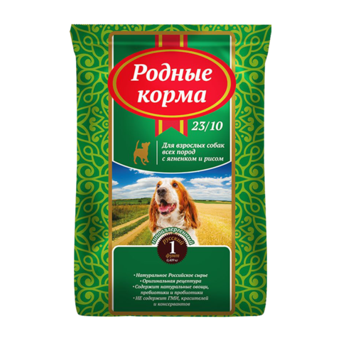 Родные корма Сухой корм для взрослых собак с ягненком и рисом