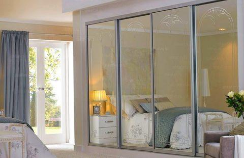 Шкаф четырехдверный зеркальный, 320 см