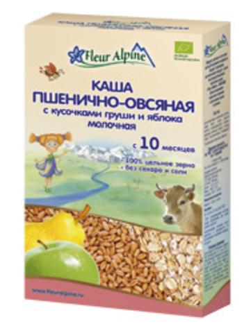 Каша молочная цельнозерновая  Пшенично-овсяная с кусочками груши и яблока Fleur Alpine