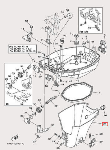 Кожух для лодочного мотора F9,9 Sea-PRO (16-21)
