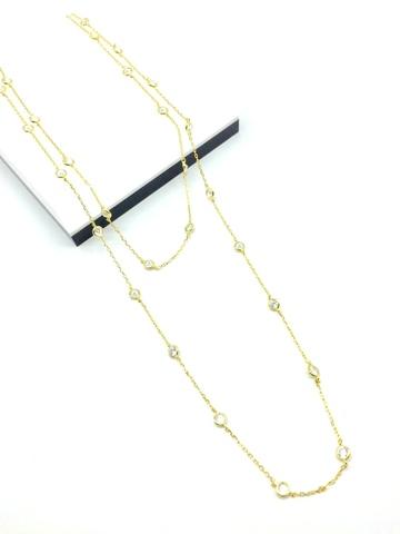 53086 - Колье длинное из серебра в лимонной позолоте
